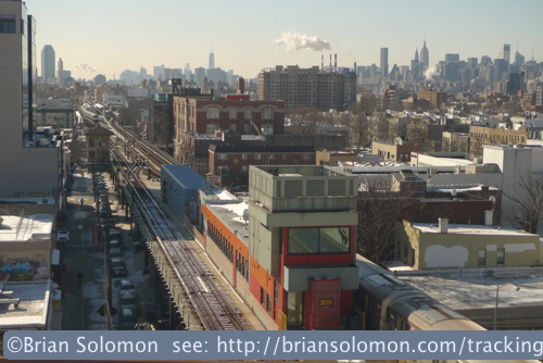 View from Amtrak 56 on approach to New York's Hell Gate Bridge with the New York City Transit Authority below and the Manhattan skyline beyond. Lumix LX3 photo.