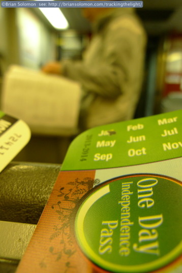 SEPTA Daypass; a bargain that cost just $12. We got good value with ours. SEPTA's conductor sold us the passes on the train. Lumix LX3 photo.