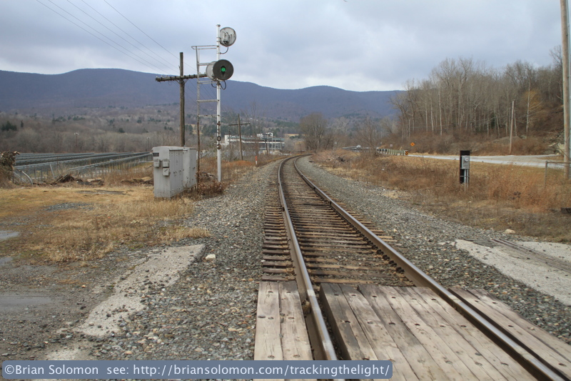 Looking west toward North Pownal, Vermont. The once standard searchlight style signal is rapidly disappearing. On Pan Am Railway's many have already been replaced.