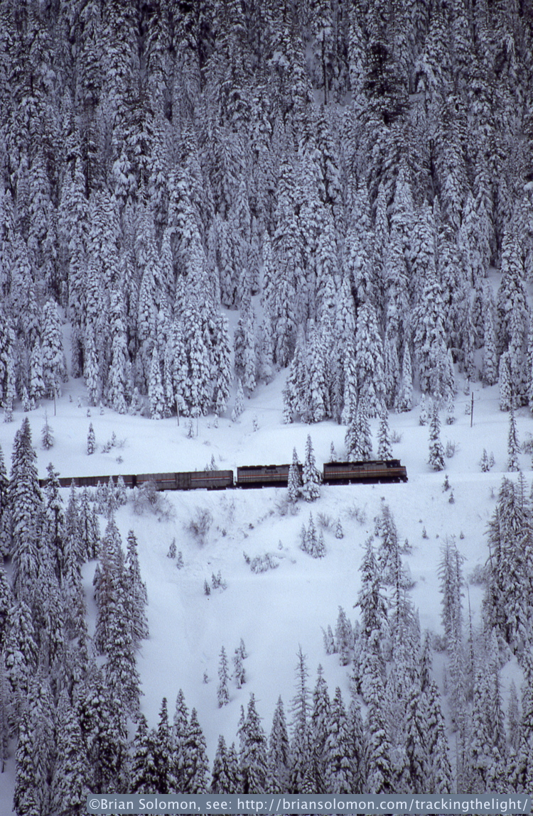 Amtrak's California Zephyr ascends Donner Pass near shed 47 on February 19, 1994. Exposed on Fujichrome, scanned with a Epson V600 scanner on February 19, 2014.