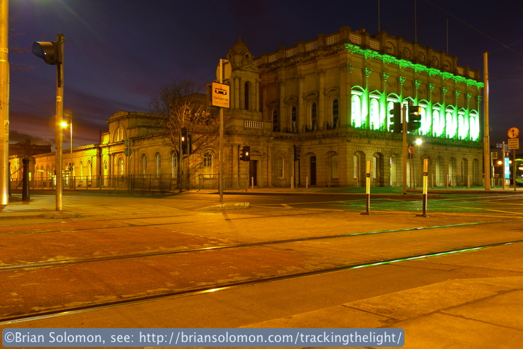 Heuston Station on March 15, 2014. Exposed with a Lumix LX3 at f 2.8 for 1.6 seconds. Daylight white balance. Camera mounted on mini Gitzo tripod. Unmodified file.