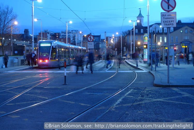 A LUAS tram makes a stop at Heuston Station, Dublin. Exposed with a Lumix LX3 in February 2014.