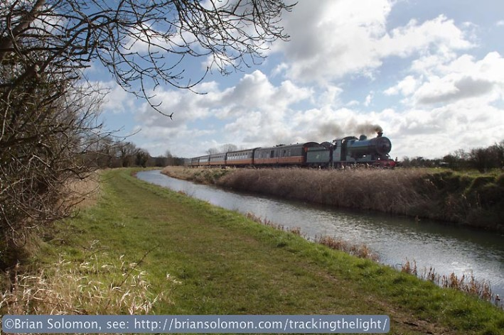 Locomotive 461 works west along the Royal Canal near Enfield on March 23, 2014. Exposed with a Canon EOS 7D fitted with a 20mm lens and firmly mounted on a Bogan tripod. Focus and exposure set manually.