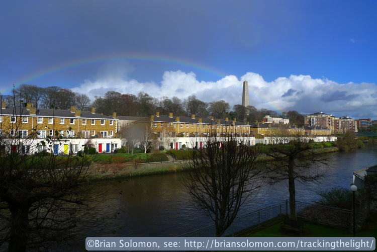 A rainbow graces Dublin's Phoenix Park. On the right is the Wellington Testimonial. Exposed with a Lumix LX3 in February 2014.