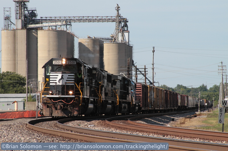 Norfolk Southern 18M lead by SD70 2501 rolls through Centerville, Ohio on August 12, 2011. Exposed with a Canon EOS 7D with 28-135mm lens.
