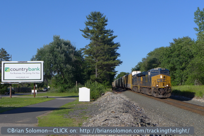 CSX's 922 leads a westward emtpy autorack train near milepost 66 in Brookfield. The train stopped for a few minutes to wait for its conductor. I exposed several views using a Lumix LX-7.