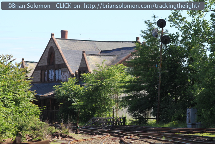 The old Boston & Maine station at Holyoke, one of a handful of surviving railroad stations designed by noted architect H.H. Richardson (also responsible for the station in Palmer, Massachusetts, which is routinely featured in Tracking the Light.) Canon EOS 7D photo.