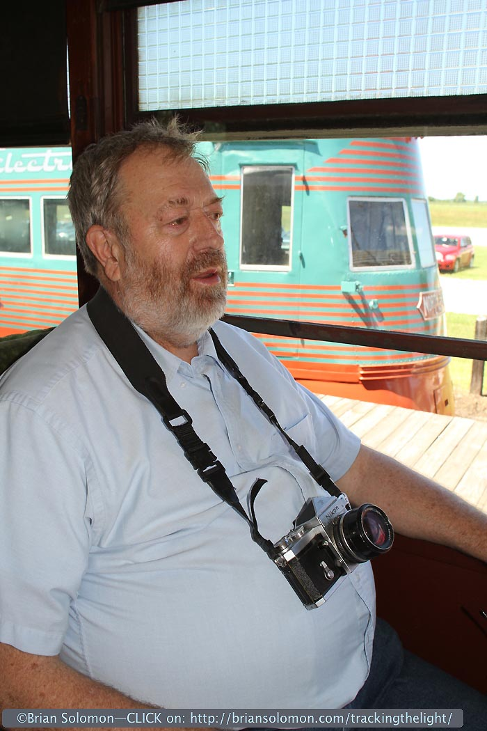 Four years ago today: John Gruber with his vintage Nikon F on a restored North Shore car at the Illinois Railway Museum. Exposed with a Canon EOS 7D.