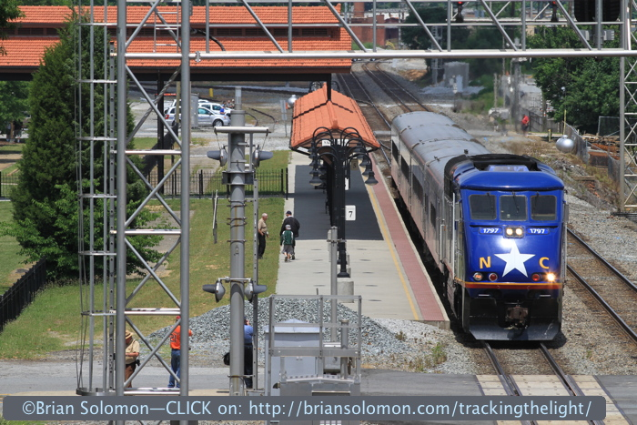 Amtrak number 75 makes its station stop at Salisbury, North Carolina. Exposed with a Canon EOS 7D with 200mm lens.