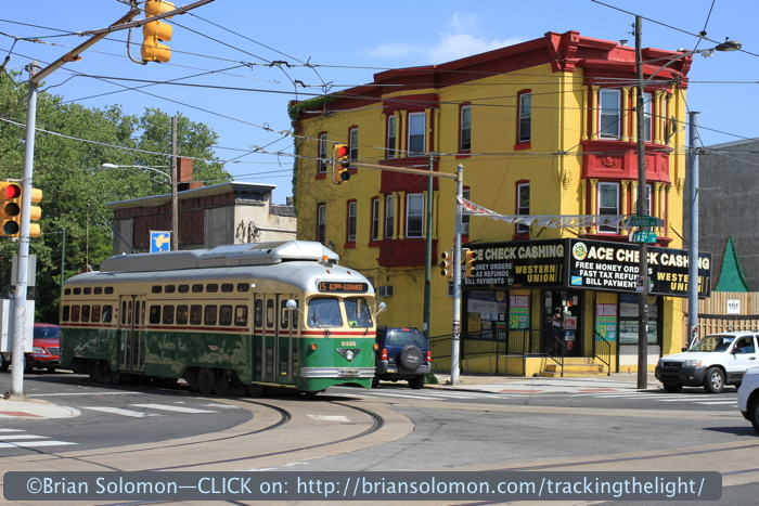 SEPTA's number 15 Streetcar takes the corner at 63rd Street. Vintage PCCs are a feature of this route. Canon EOS 7D photo.