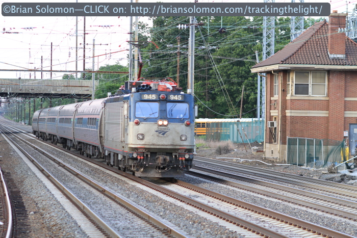 On the evening of July 29, 2014, an Amtrak Keystone train approaches Princeton Junction. The old PRR tower is on the right. An eastbound Keystone from Harrisburg was bearing down at the same time. The two trains passed at the station with a closing speed of more than 200 mph!