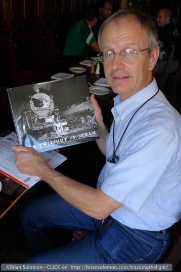 George holds a copy of my latest book, 'The Twilight of Steam.'