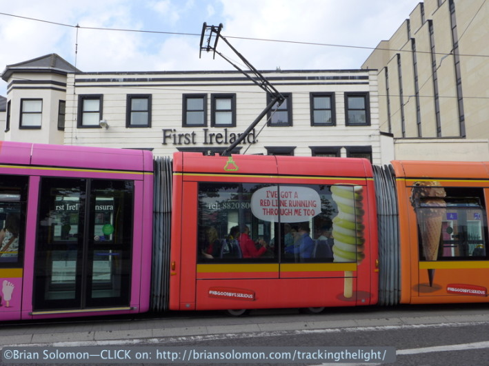 Each of the sections of this Alstom Citadis tram have been colored differently with LUAS themed advertising relating to HB Ice Cream. Thus simply making a head on view cannot capture the whole effect.