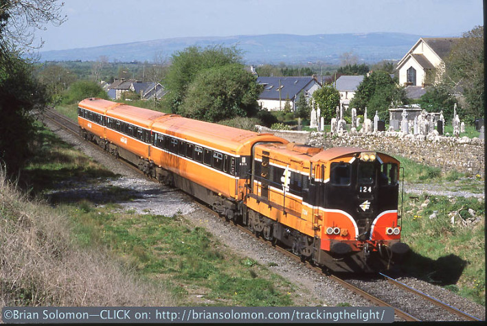 Earlier that day, I'd made this view of the same Limerick Junction shuttle at Oola. This was previously published on tracking the light. Photo was also exposed on Fujichrome Sensia 100 with a Nikon F3 with 85mm lens.