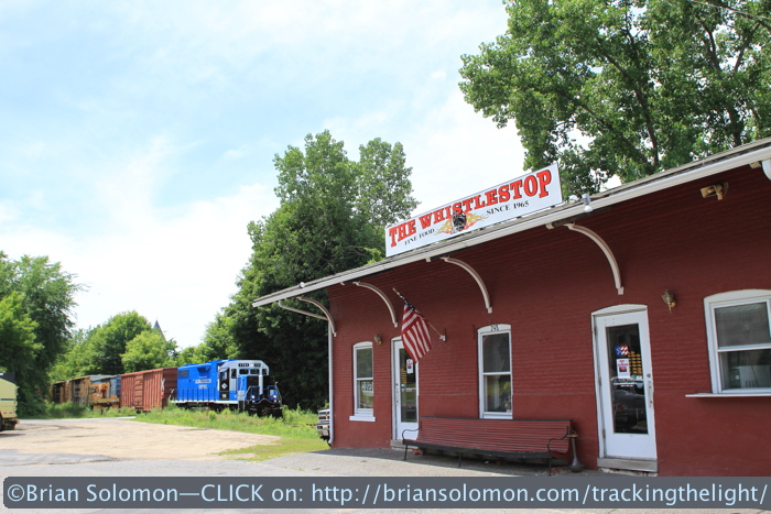 The Whistle Stop was closed so I opted to feature the station building that is often blocked with cars. Canon EOS 7D with 20mm lens.