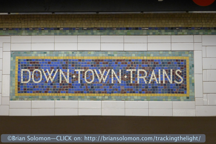 New York subway's tiled signs are a vestige of another era. After leaving the Times Square Shuttle I made my way to a change of trains to bring me south to 34th Street.