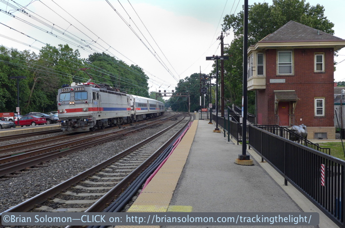 SEPTA's Great Valley Flyer, one of the system's few named trains. What other modern commuter operators have named suburban services? I wanted to feature the train passing the tower.