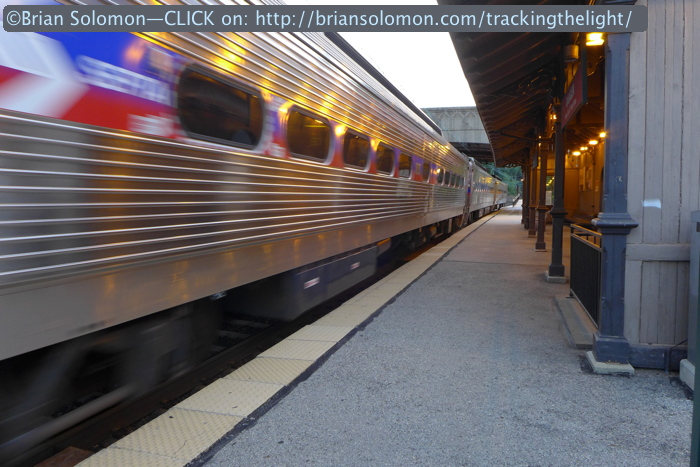 An outbound Silverliner IV accelerates away from Overbrook after 8pm on July 1, 2014. Lumix LX7 photo.