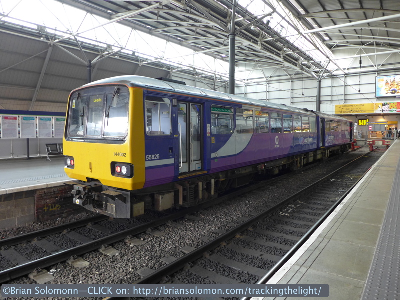 Bouncy railcars in a bay platform at Leeds. Lumix LX7 photo.