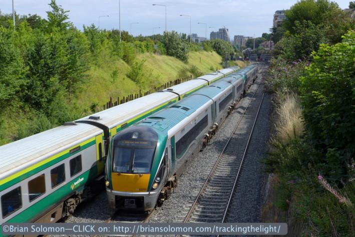 The Mark4 set was blocked at the signals in the Gullet, while an outbound Inter City Rail  departed Heuston Station.