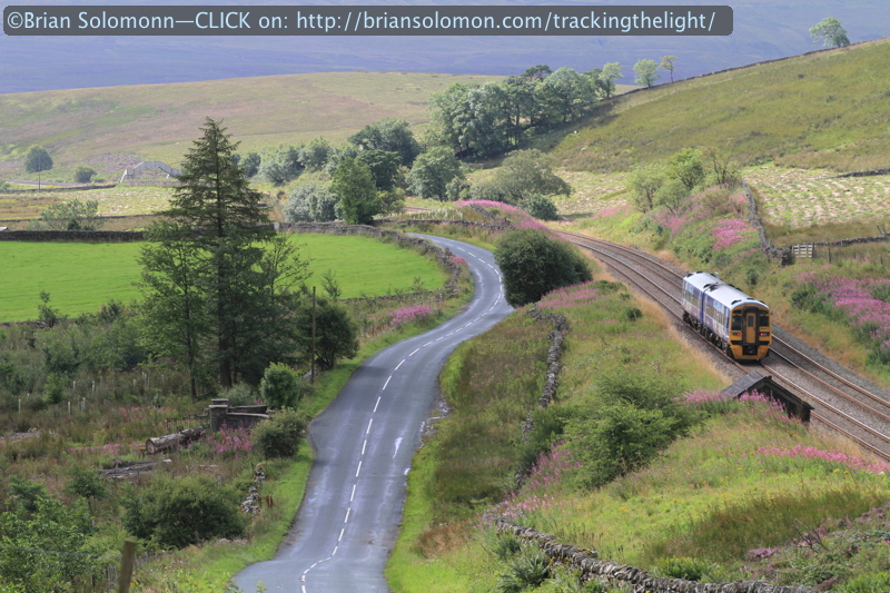 A Leeds-bound class 158 DMU hums along the Settle & Carlisle towards Garsdale in August 2014. Canon EOS 7D photo.