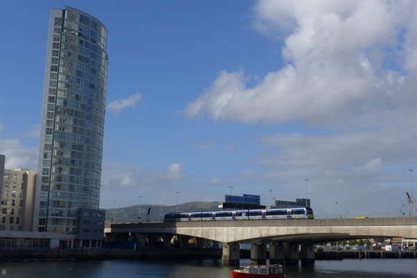 Wide angle view of the River Lagan on September 26, 2014.