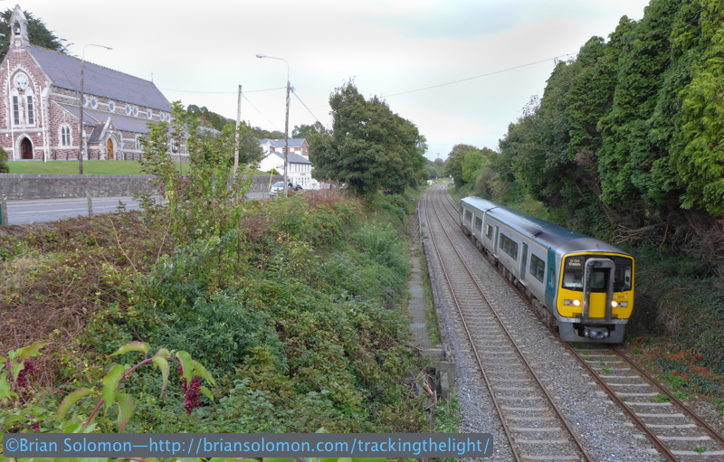 I made this photo of an inbound 2600 series railcar on the afternoon of October 6, 2014 near the church at Glounthaune, Co. Cork. Exposed with a Lumix LX7 and modified in post-processing.