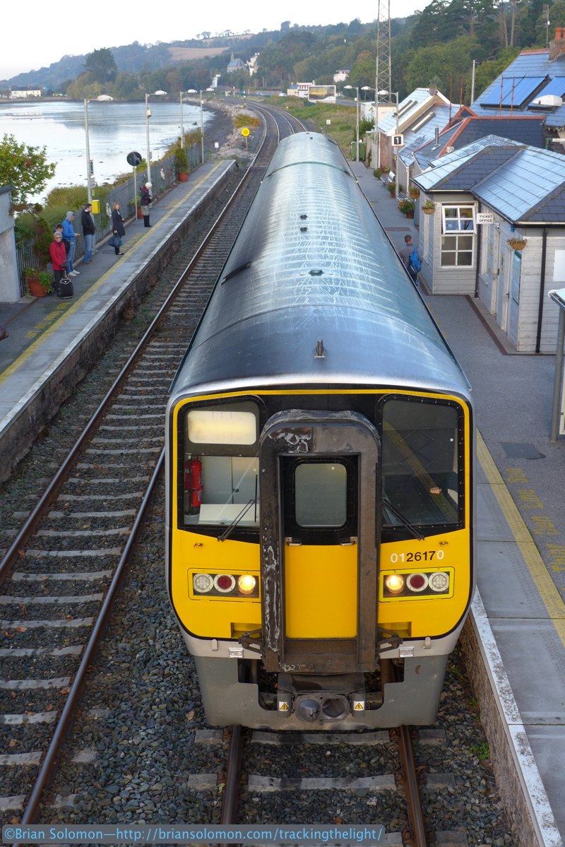 Here's my view with the Lumix LX7 of the Midleton railcar departing Glounthaune. There was excellent ridership from this station in the morning.