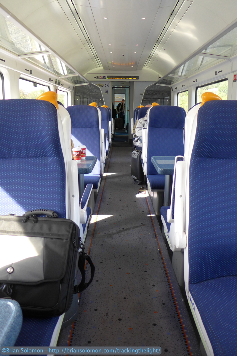 The interior of my train. Leaving Dublin it was nearly full, however large numbers of passengers disembarked at Limerick Junction to take a connecting train to Limerick, and at Mallow for the connecting train to points in county Kerry.
