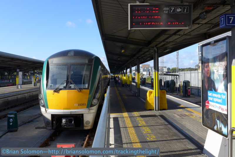 Irish Rail's 1200 (noon) departure from Dublin Heuston Station to Cork consisted of a now standard Rotem-built Intercity Railcar. I made this photo on platform 7 before boarding the train. Lumix LX7 photo.