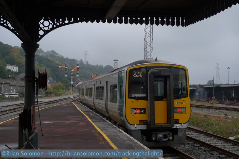 In this September 25,  2013 view I've carefully used the old canopy as a frame for the 2600 railcar departing Kent Station. Notice the relative location of semaphores, lighting masts, and cast iron canopy supports. Lumix LX3 photo.