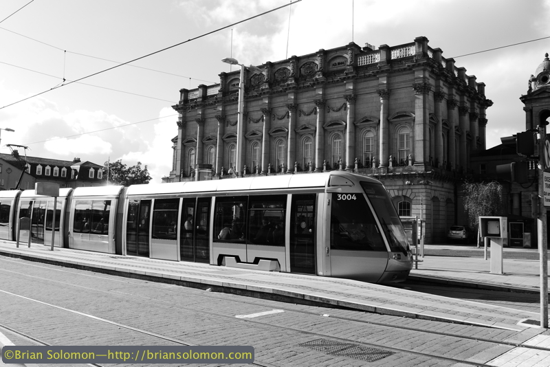 On the morning of October 11, 2014, a LUAS tram pauses at Heuston Station, Dublin. Exposed using a Lumix LX7 in 'Creative Control Dynamic Monochrome Mode'.