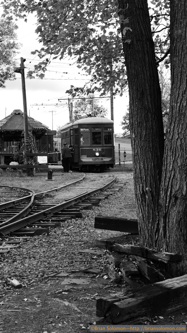 Do streetcars look better in black & white? I made this monochromatic view with my Lumix LX7.