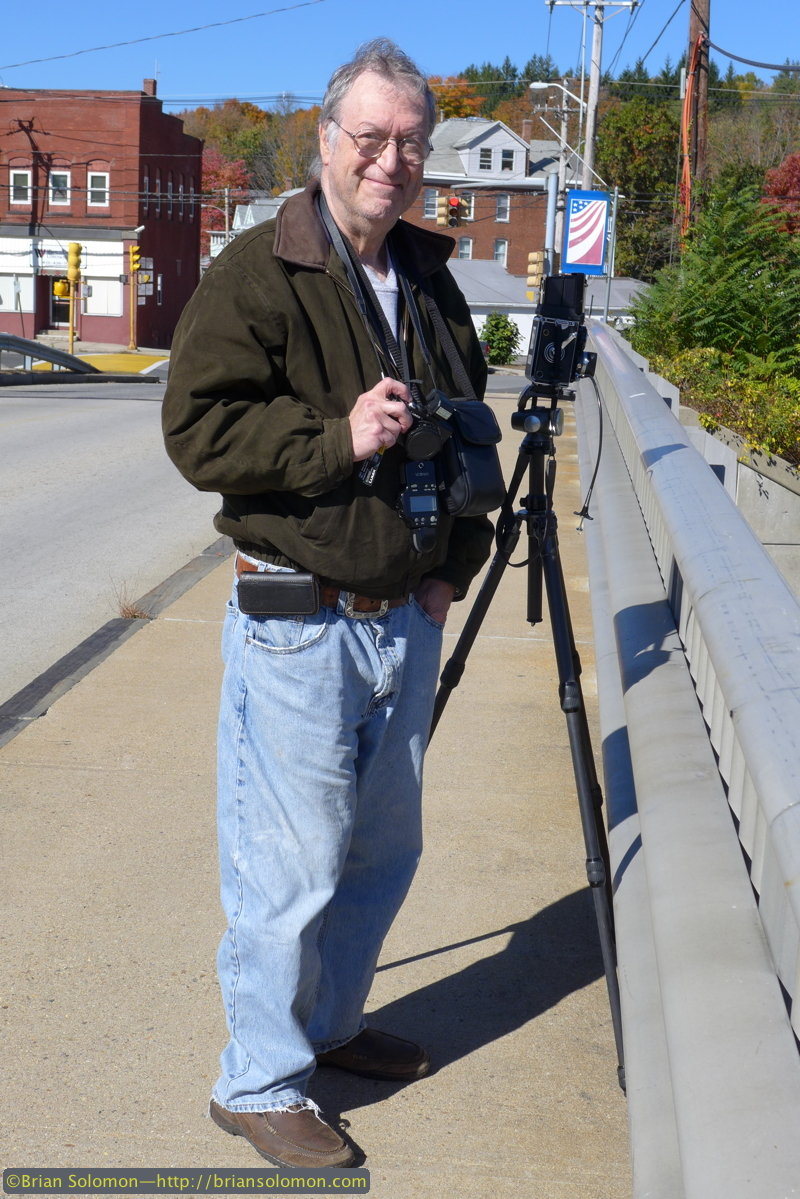 Richard J. Solomon at West Warren, Massachusetts on October 12, 2014. Richard has a mix of modern digital cameras and a traditional Rolleiflex loaded with color negative film.
