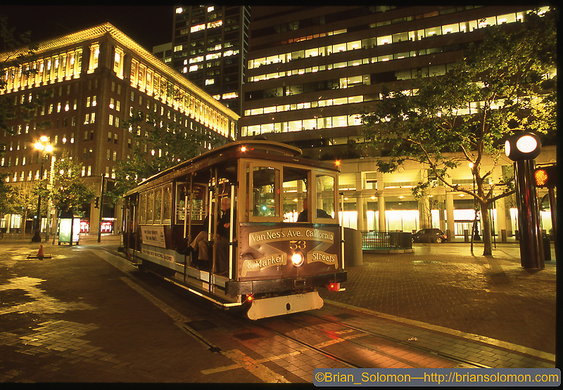 California Street Cable Car at Market Street late on weekday evening. May 2008.