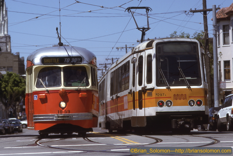 Muni PCC and Boeing LRV at 30th and Church Sts SF CA Jul 16 1995 Brian Solomon 662237