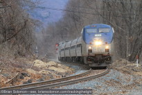 Amtrak southward test train at Old Ferry Road in Holyoke (south of Mt Tom) on December 19, 2014. Exposed with a Canon EOS 7D with 200mm lens. ISO 800.