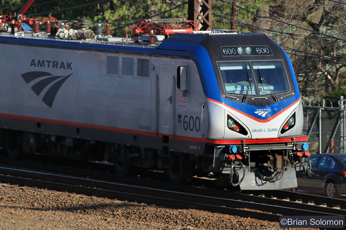 Amtrak 600 was named 'David L. Gunn' and works at the back of a Keystone train. Canon EOS 7D with 200mm lens.
