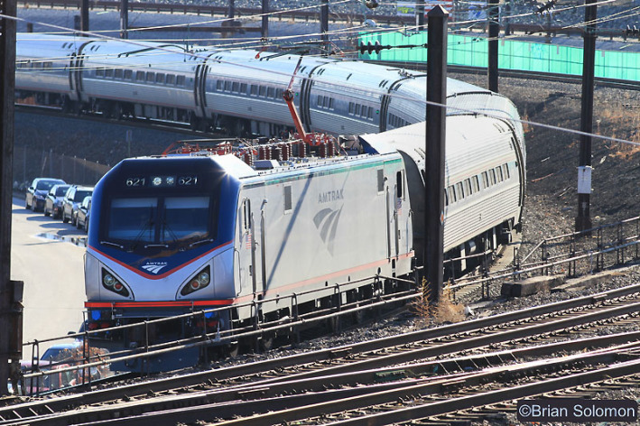 New Amtrak ACS-64 621 leads a Northeast Regional train at Zoo Junction. Canon EOS 7D with 200mm lens.