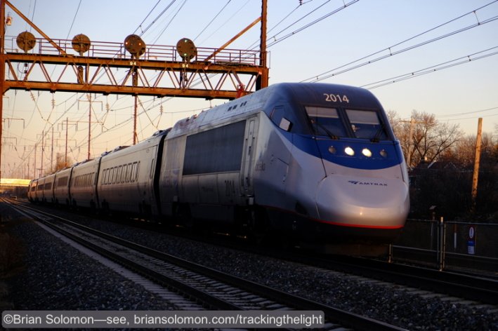 Amtrak Acela Express blitzes Prospect Park. Fuji X-T1 with 18-55mm lens at ISO 400 f4.0 1/1000 of a second.