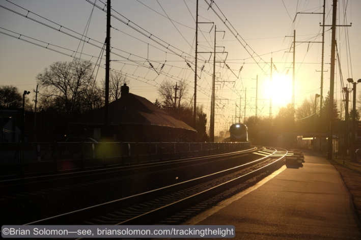 Amtrak at sunset, Prospect Park, PA. Fuji X-T1 with 18-55mm lens. ISO 200 f6.4 1/950th of a second.