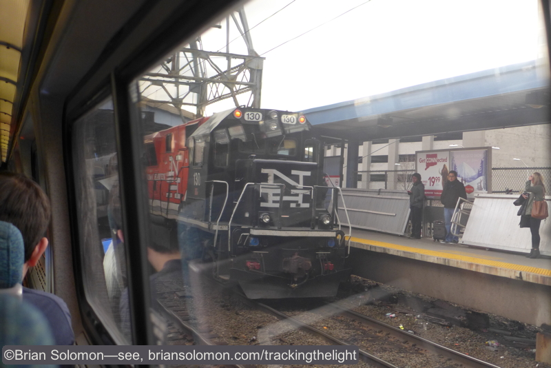 A BL20GH diesel at Bridgeport with a train from Waterbury. December 17, 2014. LX7 photo.