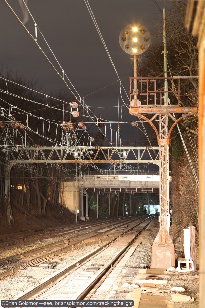 Pennsylvania Railroad Position Light signal at Bryn Mawr, Pennsylvania. Time exposure made with a Canon EOS 7D 100mm lens mounted firmly on a Bogen tripod. ISO400 f4 at 3.2 seconds.