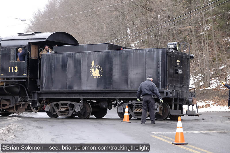 Central Railroad of New Jersey 113 back across the road at Minersville. R&N's policeman did a great job of directing traffic. Fuji X-T1 with 18-55mm lens.