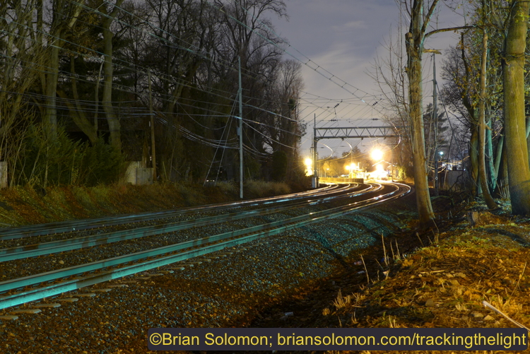 Former Pennsylvania Railroad four-track Main Line west of Wynnewood, Pennsylvania. Lumix LX7 photo exposed at ISO 80 at f2.1 for 8 seconds. Auto white balance.