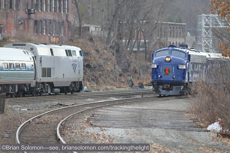 A convergence of passenger trains at Greenfield. Soon, Amtrak will call here everyday! Canon EOS 7D with 200mm lens.