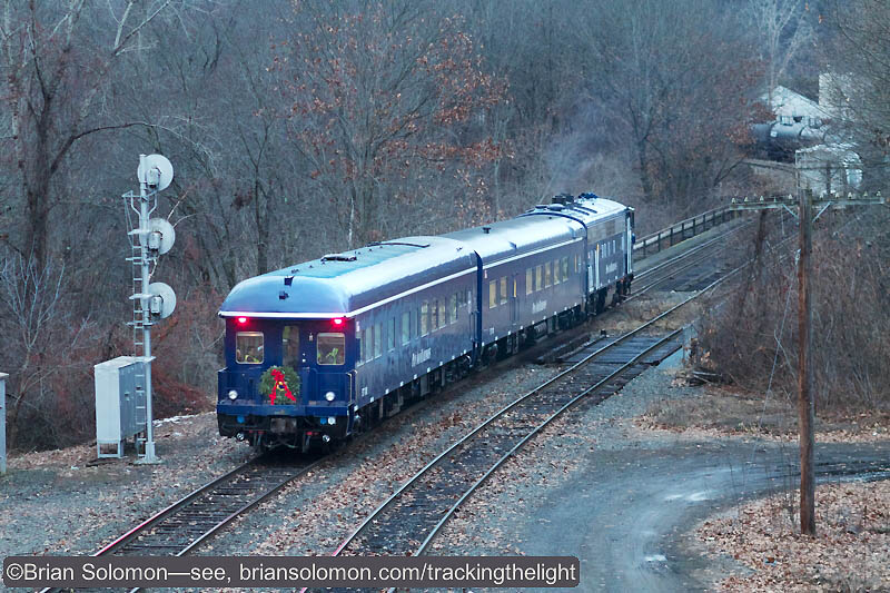 Pan Am's Office Cars reverse toward East Deerfield in the fading light of evening. Canon EOS 7D with 100mm lens.