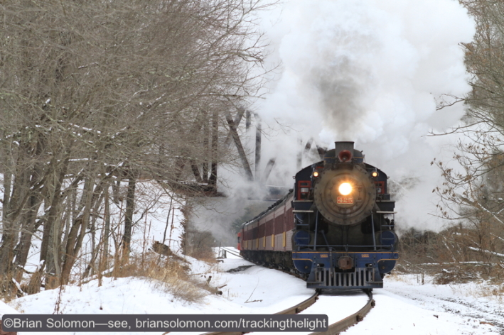 There are not many places in North America where you can photograph a steam locomotive working upgrade at speed unassisted. (Where's that SD40-2 now?). Canon EOS 7D.