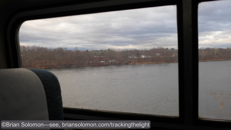 Crossing the Connecticut. I'm looking down on the river bank where I photographed the Vermonter about a month ago.