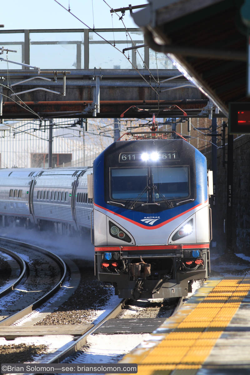 Amtrak 611 leads train 161 westbound at Branford, Connecticut on January 10, 2015.